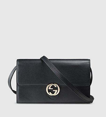 Gucci Icon Leather Wallet with Strap Black Nero Italian Interlocking