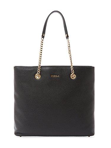 Furla Julia Saffiano Leather Chain Tote Bag, Onyx,Medium