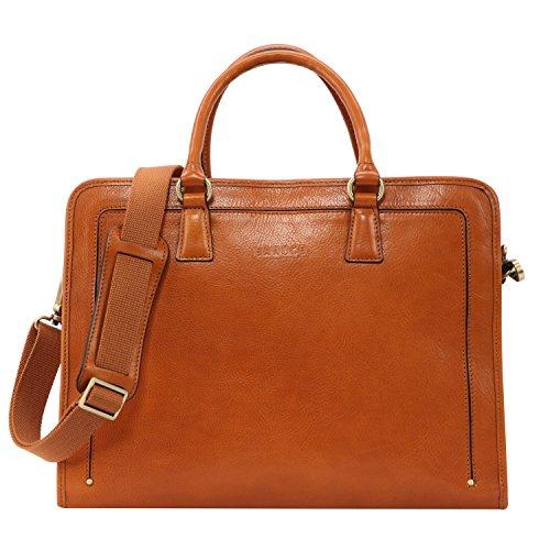 Banuce Women's Full Grains Leather Briefcase Messenger Satchel Bag 14 Laptop Case