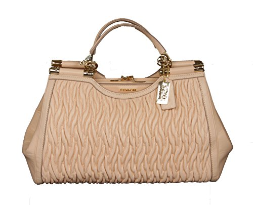 Coach Madison Gathered Leather Carryall Satchel Removable Shoulder Belt in Apricot