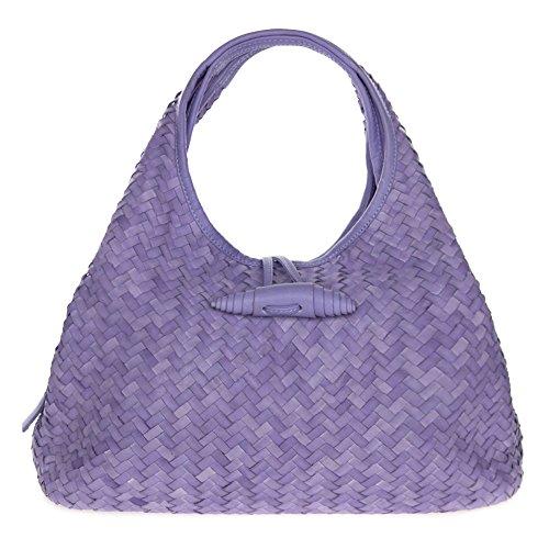 Paolo Masi Italian Made Purple Lilac Hand Woven Leather Purse Handbag