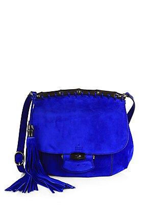 Gucci Nouveau Suede Shoulder Bag – Gunmetal-Blue
