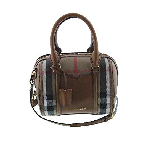 Burberry Womens Alchester Leather House Check Bowler Handbag