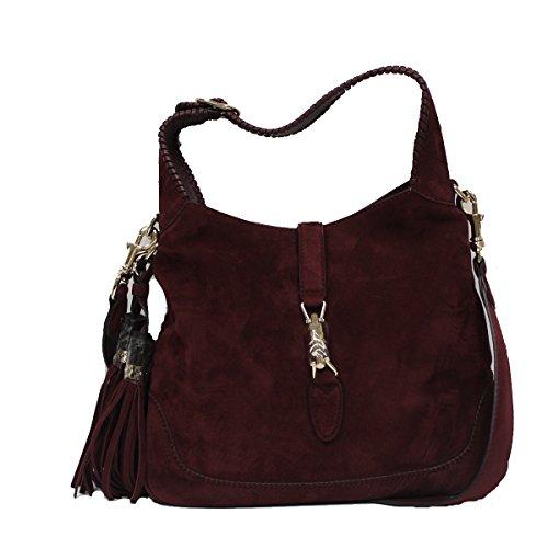 Gucci Burgundy New Jackie Soft Suede Shoulder Bag with Bamboo Tassel 246907