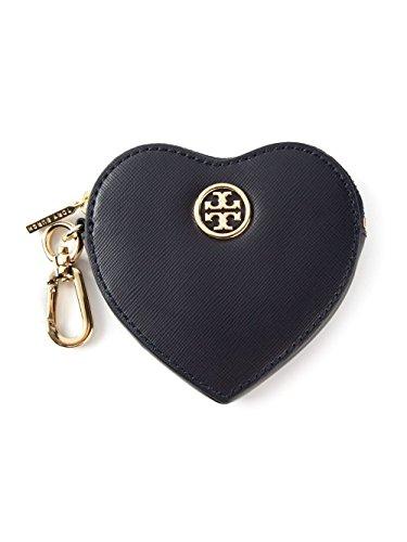 Tory Burch Saffiano Heart Coin Case Key Fob Navy