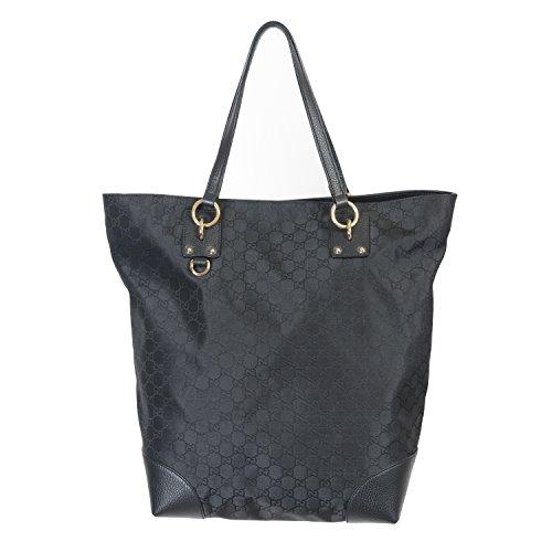 Gucci Women's Black Canvas Leather Trimmed Guccissima Print Tote Shoulder Bag