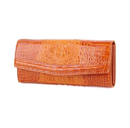 SINNOL Women's Crocodile Leather Clutch Wallet Wrist Strap Large Capacity Phone Purse Case Orange S01094