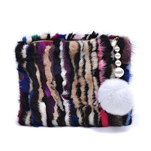 Zarapack Women's Genuine Mink Fur Evening Clutch Handbag Multi Color (Style 2)