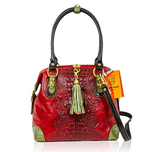 Marino Orlandi Italian Designer Red Alligator Leather Purse Crossbody Bag
