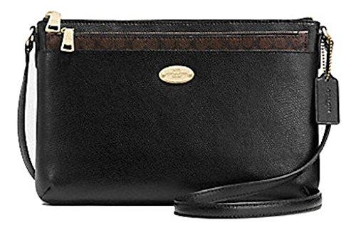 Classy Coach Black Leather Crossbody Handbag Bag Purse with Signature Dust Bag Sleeper and Gift Box