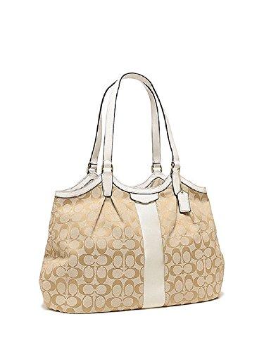 Coach Signature Stripe 12cm Devin Shoulder Bag 28503 Light Khaki Shell White