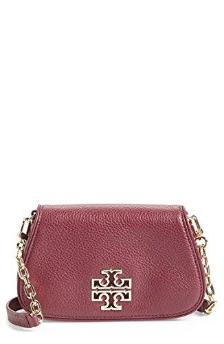 Tory Burch Mini Britten Leather Crossbody Bag Burgundy Red Agate Handbag New