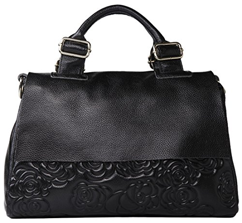 Heshe® Women's New Fashion Soft Cow Leather Rose Print Tote Handbag Top Handle Shoulder Bag Messenger Charm Simple Style for Ladies