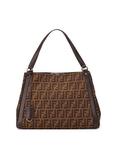 Fendi Zucca Tobacco Dark Brown Shoulder Tote Bag Brown Gold Handbag