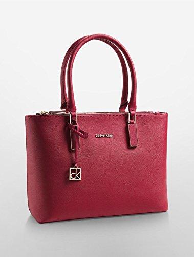 Calvin Klein Scarlett Double Zip Carry All Bag Handbag Purse Garnett