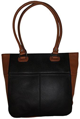 Tignanello Perfect Pockets Medium Leather Tote Black/Cognac