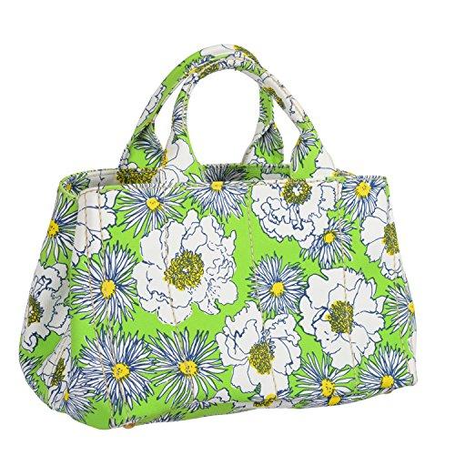 Prada Women's Multi-Color Floral Print Tote Satchel Handbag Shoulder Bag