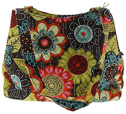 Vera Bradley Triple Compartment Handbag Purse Shoulder Bag Tote in Flower Shower