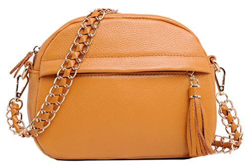 Heshe® 2015 New Fashion Women Cow Leather Shoulder Handbag Hobo Cross Body Purse Messenger Bag Simple Style Satchel Tassels with Chain
