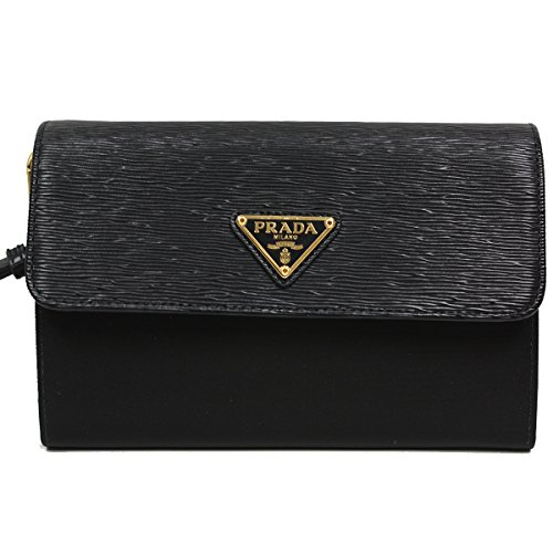 Prada Tessuto Soft Calf Leather Portafoglio Pattina Nylon Leather Wristlet Wallet 1M1438, Nero Black