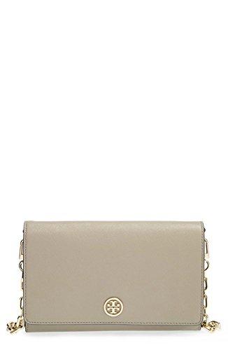 Tory Burch Robinson Saffiano Chain Wallet, French Grey