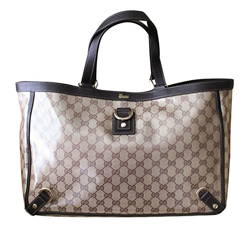 109d365e861325 Gucci Brown Crystal GG Canvas Leather D Ring Tote Bag Handbag 293580