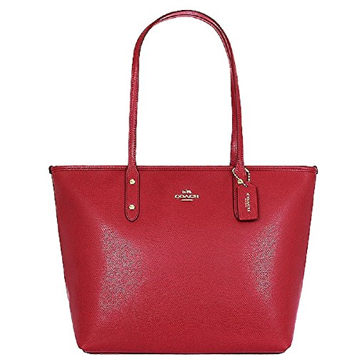Coach Red Cross-grain Leather City Zip Top Tote