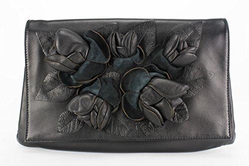 Valentino Flowered Black Leather Hand Bag (Mod: B00065-ANGL01-0NO)