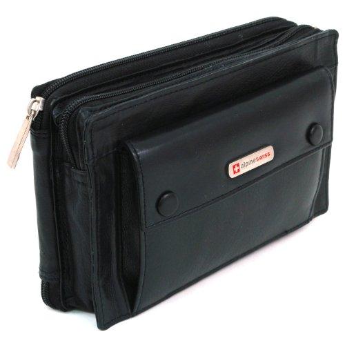 Alpine Swiss Genuine Leather Clutch Bag Organizer Wallet Man Purse Handbag Murse