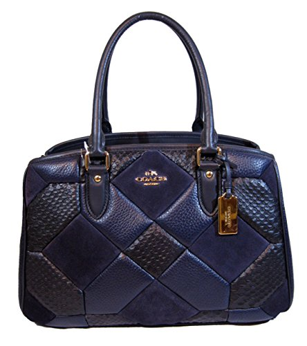 Coach Empire Carryall in Patchwork Leather Shoulder Bag, Navy