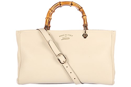 Gucci women's leather handbag shopping bag purse bamboo white