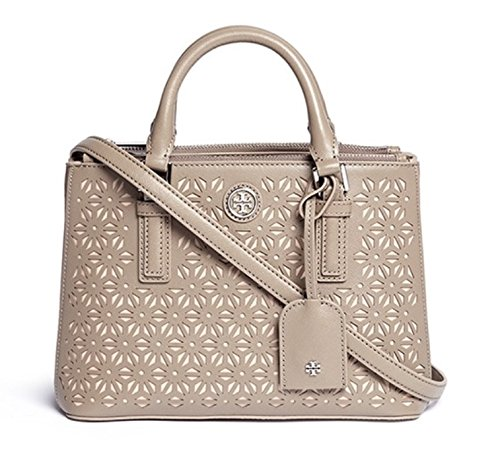 Tory Burch Robinson Micro Floral Laser Tote French Grey $475.00