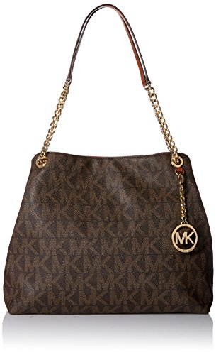 Michael Kors Sig Print Jet Set Chain Large Shoulder Tote