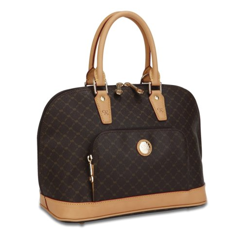 Signature Brown Dome Handle Bag by Rioni Designer Handbags & Luggage