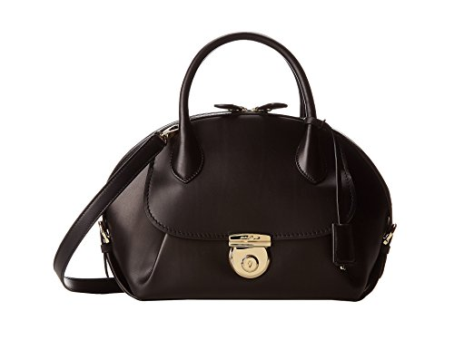 Salvatore Ferragamo Medium Fiamma Leather Satchel- Black