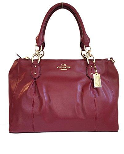 Coach Colette Crimson Leather Carryall Satchel