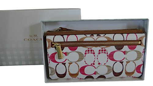 COACH Signature 'C' Boxed Bleecker Zip Wallet / Wristlet in Silver / Natural / Pink Multi 51655