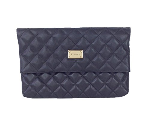 St. John Quilted Nappa Leather Fold Over Clutch Bag, Black
