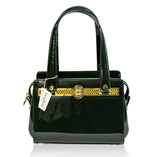 Valentino Orlandi Italian Designer Green Patent Leather Boxy Satchel Purse Bag