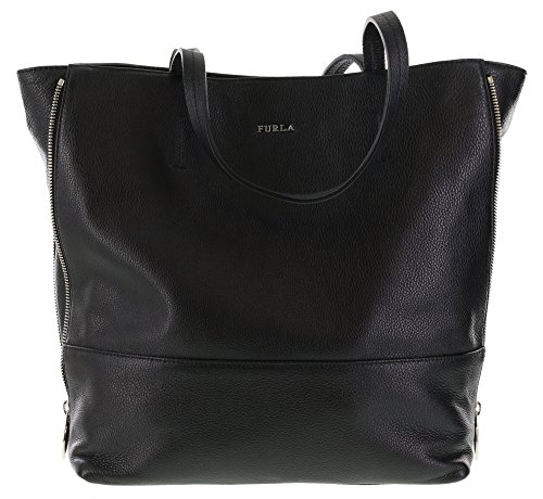 Furla Amazzone Pebbled Leather Satchel Handbag Purse in Onyx (001)