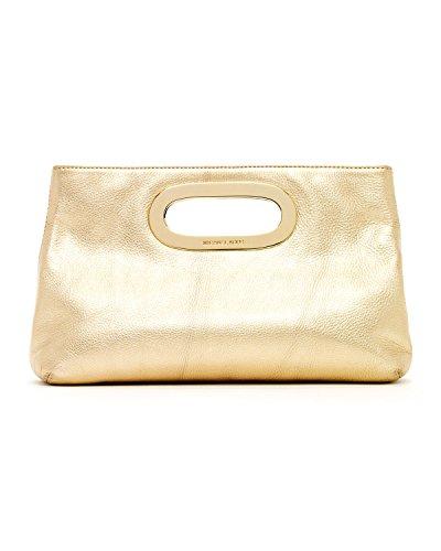 Michael Kors Berkley Pale Gold Leather Clutch
