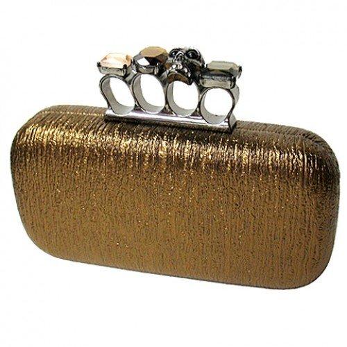 Evening Bag – Skull & Stone Knuckle Clutch Bags – Bronze – BG-EHP7101BZ