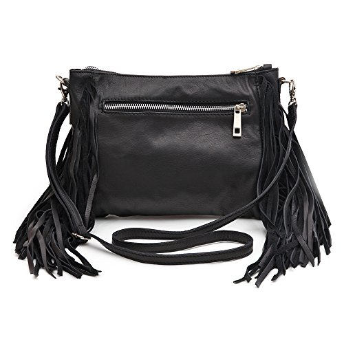 Amanda Black Leather Tassel Clutch Shoulder Bag