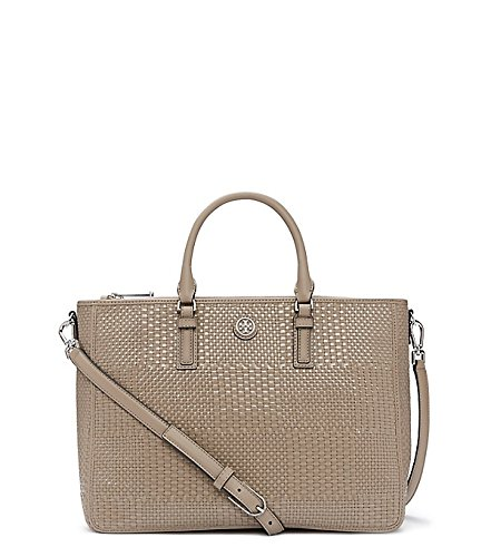 Tory Burch Robinson Woven Leather French Gray Handbag Bag New