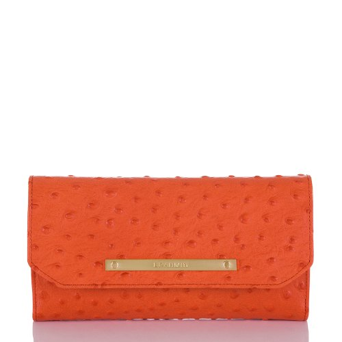 Brahmin Prawn Normandy Ostrich Emb Soft Ckbk Wallet Clutch