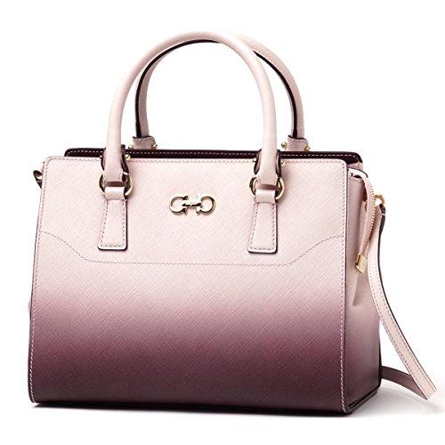 Salvatore Ferragamo Handbag (2-Way) BEKY PRINTED CALF MACARON~ROUGE NOIR
