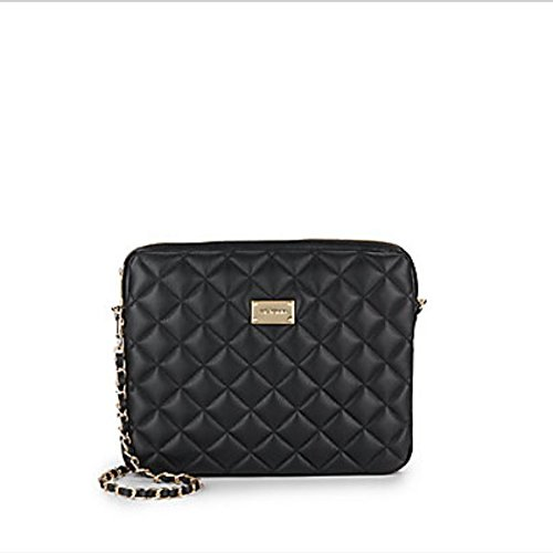 St John Quilted Black Leather Convertable Leather Clutch