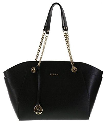 Furla Julia Saffiano Leather Handbag Shoulder Bag Purse in Onyx
