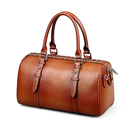 Fineplus Rivets Boston Bag Doctor Style Full Grain Leather Zippers Handbag Brown