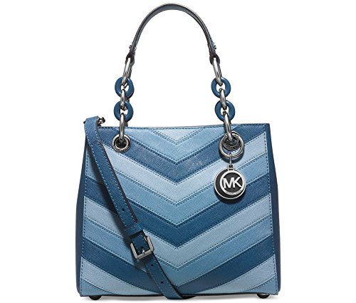MICHAEL Michael Kors Womens Cynthia Chevron Small North South Satchel Sky/Silver